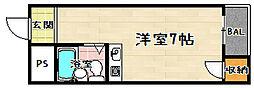 京都府京都市山科区音羽草田町の賃貸マンションの間取り