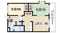 愛知県名古屋市緑区水広2丁目の賃貸マンションの間取り
