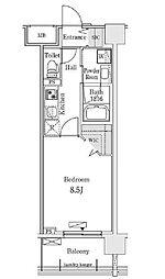 新交通ゆりかもめ 新豊洲駅 徒歩22分の賃貸マンション 8階1Kの間取り