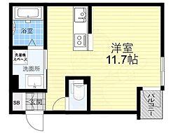 阪神本線 尼崎駅 徒歩4分の賃貸アパート 2階ワンルームの間取り