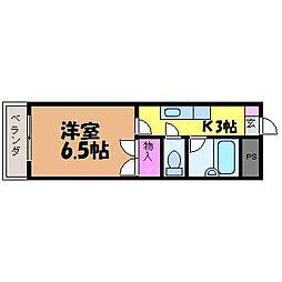 愛媛県松山市中村5丁目の賃貸マンションの間取り