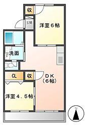 メゾン八社K B棟[1階]の間取り
