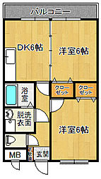 スカイマンションE[105号室]の間取り