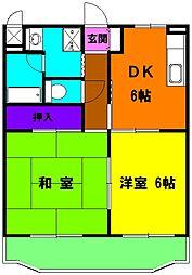 静岡県磐田市安久路1丁目の賃貸マンションの間取り