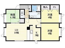 北海道札幌市北区屯田10条3丁目の賃貸アパートの間取り
