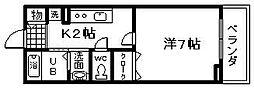 JR阪和線 久米田駅 徒歩2分の賃貸アパート 1階1Kの間取り