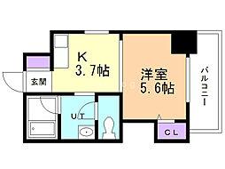 フォレストタワー・35 9階1DKの間取り