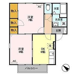 新潟県新潟市東区松園1丁目の賃貸アパートの間取り