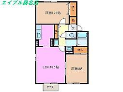 三重県桑名市大字上野の賃貸アパートの間取り