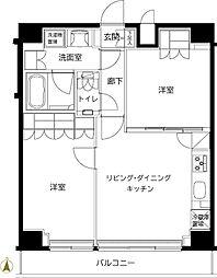 ルーブル東武練馬弐番館 2階2LDKの間取り