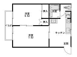 ダイセンアパートC[202号室]の間取り