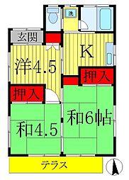 [一戸建] 千葉県松戸市稔台1丁目 の賃貸【/】の間取り