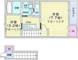 仙台市営南北線 河原町駅 徒歩14分の賃貸アパート 2階1SKの間取り