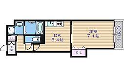 近鉄大阪線 大阪上本町駅 徒歩3分の賃貸マンション 2階1DKの間取り