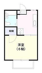 センチュリー平賀壱番館 2階1Kの間取り