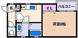 阪神本線 魚崎駅 徒歩10分の賃貸アパート 3階1Kの間取り