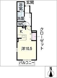 メゾンド・カルム[1階]の間取り