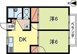 埼玉県所沢市美原町5丁目の賃貸アパートの間取り