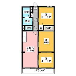 静岡県富士市中里の賃貸マンションの間取り