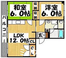 福岡県春日市日の出町5丁目の賃貸マンションの間取り