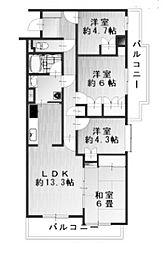 新百合王禅寺ガーデニア[3階]の間取り