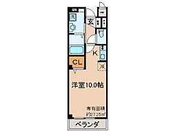 京都地下鉄東西線 東野駅 徒歩10分の賃貸マンション 3階ワンルームの間取り