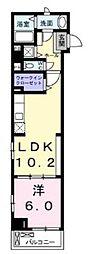 東京メトロ日比谷線 神谷町駅 徒歩3分の賃貸マンション 2階1LDKの間取り