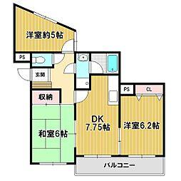 マンション築山第3[202号室]の間取り