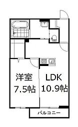 JR山陽本線 高島駅 徒歩22分の賃貸アパート 1階1LDKの間取り