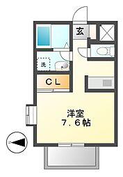 愛知県名古屋市昭和区萩原町5丁目の賃貸アパートの間取り