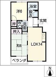 愛知県名古屋市中村区八社1丁目の賃貸マンションの間取り