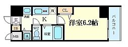 プレミアムコート天神橋 9階1Kの間取り