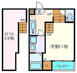 仙台市地下鉄東西線 連坊駅 徒歩10分の賃貸アパート 2階1Kの間取り