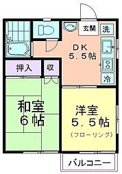 石橋アパート[201号室]の間取り