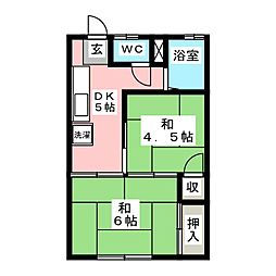 コーポ清和B[1階]の間取り