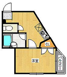 JR東海道・山陽本線 灘駅 徒歩1分の賃貸アパート 3階1Kの間取り