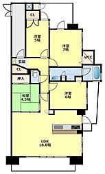 愛知県豊田市日南町3丁目の賃貸マンションの間取り