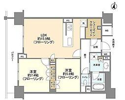 東京メトロ銀座線 表参道駅 徒歩13分の賃貸マンション 9階2LDKの間取り