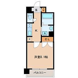 仙台市地下鉄東西線 国際センター駅 徒歩20分の賃貸マンション 6階1Kの間取り