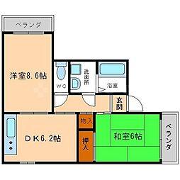 ベルダ中宮 3階2DKの間取り