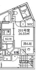 JR山手線 恵比寿駅 徒歩16分の賃貸マンション 2階1LDKの間取り