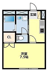 愛知県豊田市挙母町1丁目の賃貸アパートの間取り