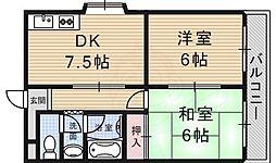 第5金森マンション 4階2DKの間取り