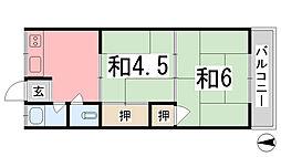 川畑ハイツ[105号室]の間取り