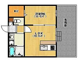 福岡市地下鉄空港線 唐人町駅 徒歩13分の賃貸アパート 2階1DKの間取り