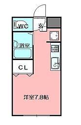 LEGEND181 C棟 2階ワンルームの間取り
