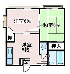 フォーブ東C[2階]の間取り