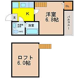 愛知県名古屋市西区中小田井5丁目の賃貸アパートの間取り