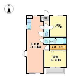 プレシャスコートA[2階]の間取り