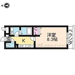 京阪本線 龍谷大前深草駅 徒歩5分の賃貸アパート 2階1Kの間取り